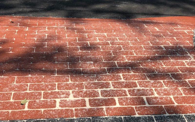 brick stamped asphalt close up