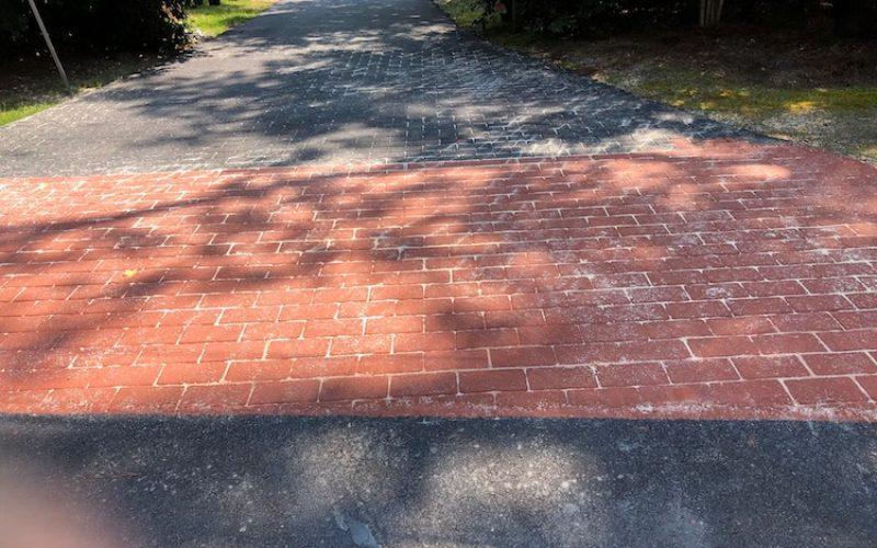 brick stamped asphalt full view
